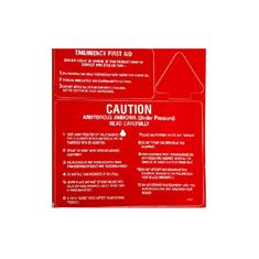 "NH3 SAFETY DECAL-""CAUTION  / FIRST AID"" RED/WHITE"