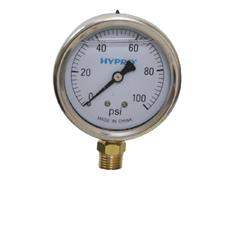 "PRESSURE GAUGE 0-100 PSI 4"", LIQUID FILLED"