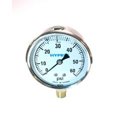 "PRESSURE GAUGE 0-60PSI 2 1/2"", LIQUID FILLED"